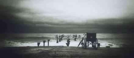 sea black and white landscape beach